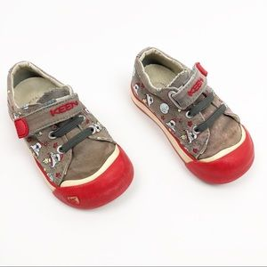 Keen Velcro Strap Shoes Red Grey Rockets Size 6